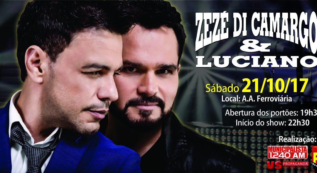 Zezé di Camargo e Luciano se apresentarão em Botucatu dia 21 de outubro
