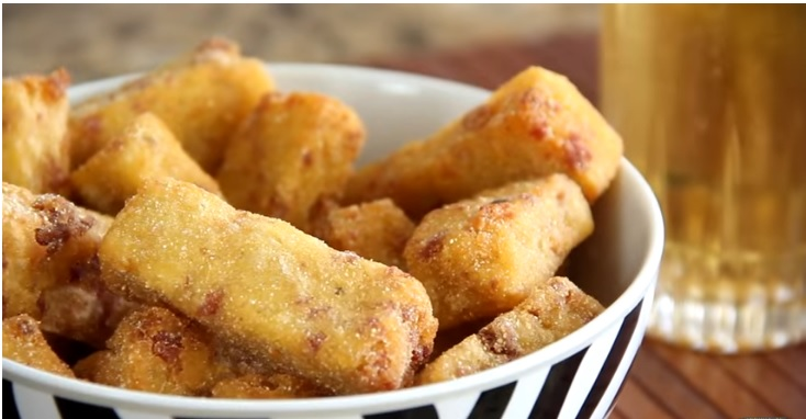 Polenta Frita com Calabresa – aperitivo de buteco