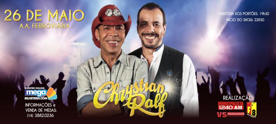 Chrystian e Ralf em Botucatu: ingressos já estão sendo vendidos