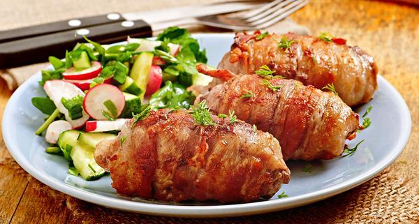 Enrolado de frango com pimentão