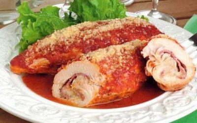 Rolinhos de frango recheado ao forno