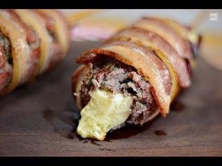 Enroladinho de bacon com carne moída e provolone