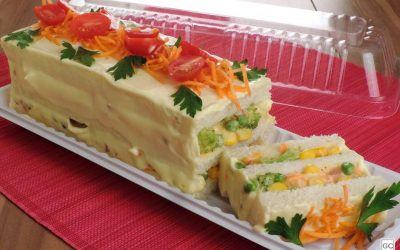 Torta fria de legumes e bacon
