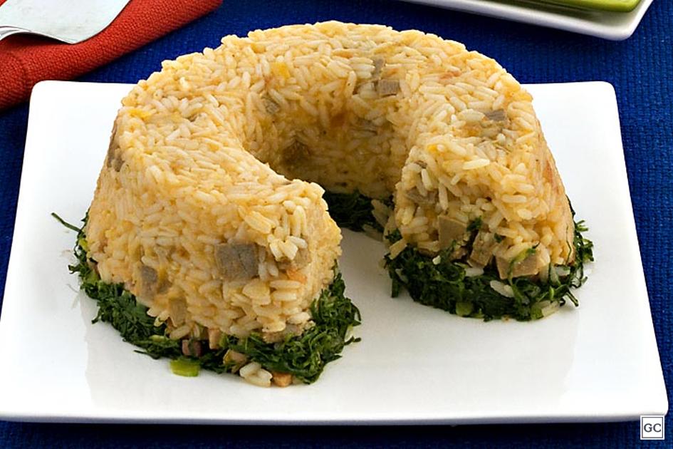 Enformado de arroz com couve