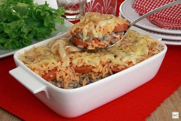 Arroz de forno com lentilha e linguiça